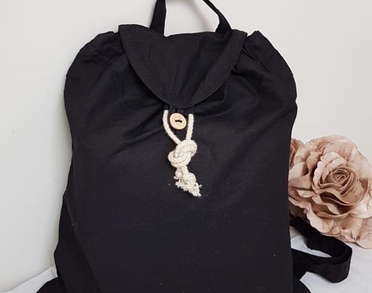 sac à dos coton bio noir